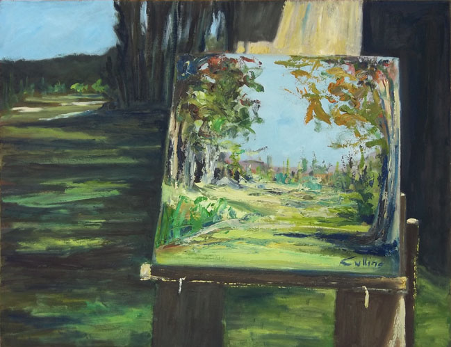 """Licenza poetica"", olio su tavola 40 x 50"